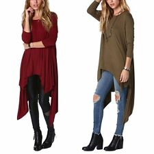 Sexy Womens Casual Off Shoulder Long Sleeve Asymmetric Hem Loose Long Dress Tops