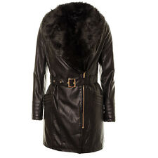 Women's Leatherette Fur Collar Belted Trench CoatLadies Faux Fur Lined PU Jacket