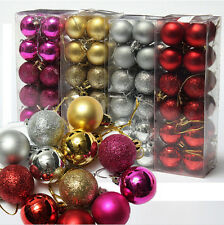 24Pcs Glitter Christmas Balls Baubles Xmas Tree Hanging Ornament Christmas Decor