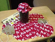 HoHoHo CHRISTMAS PATTERN FABRIC JAM POT COVERS WITH PINKED EDGES+LABELS+BANDS