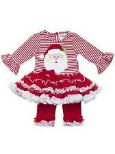Rare Editions Santa Applique Outfit Holiday Christmas Sz 12 months - 6X