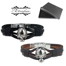 Real Genuine Leather Braided Skull Bracelet Wristband Stainless Steel Xmas Gifts