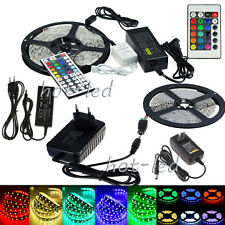 5M 3528 5050 RGB 300 SMD Flexible LED Strip Light 44keys Remote 12V Power Supply