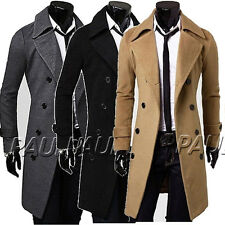 WINTER Mens Wool Trench Coats Long Jacket Double Breasted Overcoat Tops Pea coat
