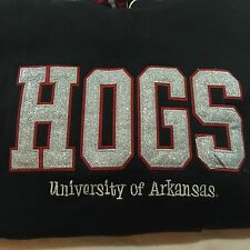 NCAA Arkansas Razorbacks Hogs Black Silver Red Hoodie PressBox Apparel NWT