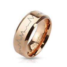 Coolbodyart Stainless Steel Unisex Ring rose gold Heartbeat Laser Etched