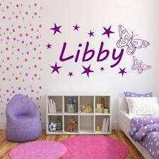 Personalised Girls Name Butterfly Bedroom Wall Art Stickers Decal Transfer Mural