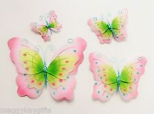 4 PACK - Blue & Pink Fabric Glitter Butterfly Decorations Clips Girls Bedroom