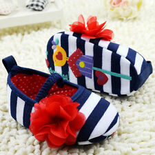 Infant Toddler Girl's Baby Shoes Flower Stripes Party Princess Shoes Autumn G76