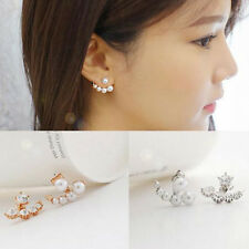 Lovely Women Girls Pearl Rhinestone Crystal Asymmetric Ear Studs Earrings Hot