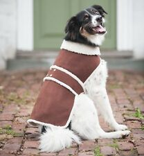 ETHICAL PET FAUX SHEARLING SUEDE & SHERPA FLEECE WINTER DOG COAT, BROWN COLOR