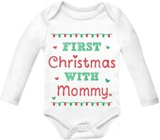 First Christmas with Mommy - Cute Xmas Baby Grow Vest Baby Long Sleeve Onesie