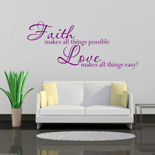 FAITH LOVE FOREVER Wall Art Sticker Lounge Quote Decal Mural Stencil Transfer