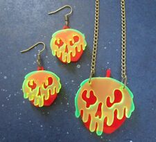 Snow White Evil Wicked Witch Poison Apple Earrings and/or Necklace Set Cosplay
