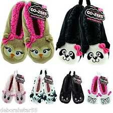 Girls Kids Co-Zees Novelty Animal Face Soft Warm Sherpa Fleece Slippers All Ages