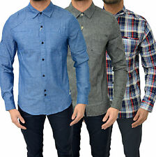 Mens Designer Bellfield Shirt Long Sleeve Fashion Dress Casual Slim Fit Top L/S