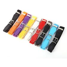 Candy Color Kids Boys Girls Waist Belt Polyester Pu Leather Elastic Waistband
