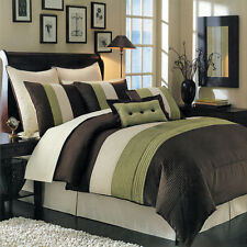 Hudson Sage Luxury 8 PC Elegant Comforter Set Skirt Shams and Pillows Set