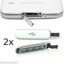 2x Silver Micro USB Charging Seal Port Cover For Samsung Galaxy S5 G900 i9600