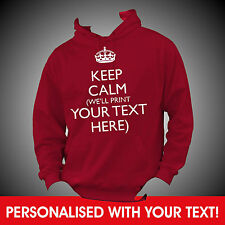 Personalised KEEP CALM and YOUR CUSTOM TEXT Hoodie Hoody Top - BEST QUALITY