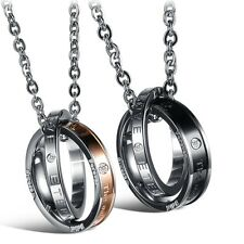 His Hers Stainless Steel Crystal Double Rings Two Tone Engraved Pendant Necklace