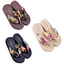 Bohemia Floral Beach Sandals Wedge Platform Thongs Slippers Flip Flops Fashion