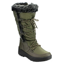NATURE BREEZE Women's Faux Fur Lace Up Mid-Calf Snow Boots New In Box