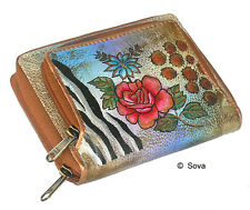 Sova Hand Painted Zip Around Credit Card French Wallet