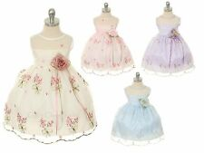 Baby Infant Flower Girl Embroidered Dress Wedding Pageant Easter Birthday 309