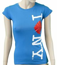 I Love NY New York Womens T-Shirt Spandex Vertical Heart Turquoise