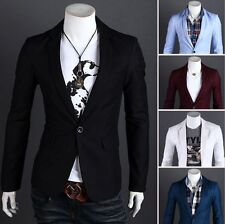 New Stylish Men's Casual Slim Fit One Button Suit Blazer Coat Jacket Tops Office