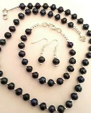 sterling silver 925 necklace bracelet earrings set pink / black / lilac pearls