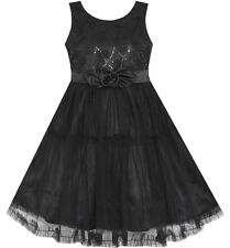 Girls Dress Shinning Sequins Tulle Layers Party Pageant Black Age 2-10 Formal