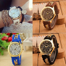 Fashion Women's Geneva Chain Silicone Roman Numerals Analog Quartz Wrist Watches