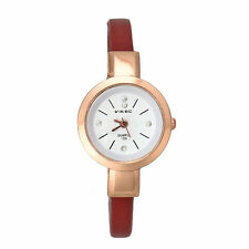 Candy Color Wmen Lady Girl Lady Thin Strap Quartz Wrist Watch Rose Golden Dial