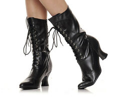 """Beston 253-AMELIA Womens 2.5"""" Chunky Heel Victorian Lace Up Mid Calf Boots"""