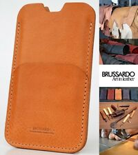 Custom Handmade Brussardo Brown Real Italian Leather Case / Pouch Apple iPhone 6