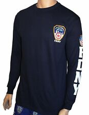 FDNY Long Sleeve Officially Licensed Keep Back 200 Feet T-Shirt Navy