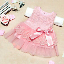 Baby Girls Infant Sleeveless Lace Crochet Princess Dress Bowknot Party Dress