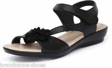 WOMENS HUSH PUPPIES DALLAS BLACK LEATHER COMFORTABLE SUMMER SANDALS FLORAL SHOES