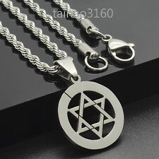 "Top Stainless Steel Dog Tag Pendant Star of David 3mm Chain 18-30"" Necklace 51M"
