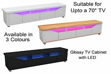 "Glossy TV Entertainment Stand Cabinet Unit, 4 Drawers LED Lights 42"" 50"" 55"" 60"""