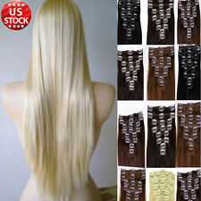 7 PCS Real Cheap Clip In Remy Human Hair Extensions Full Head Straight Shade A12