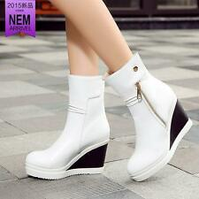 Fashion New Womens Ankle Boots Zip Snap Strap Wedge Heel Platform Shoes Size