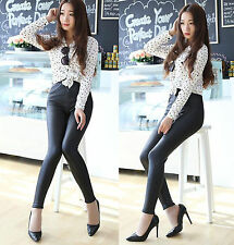 Women High Waisted Sexy Faux Leather Leggings Stretch Skinny Pants Slim Trouser