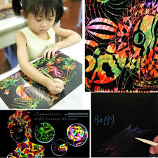 10 Sheet 16K Colorful Scratch Art Paper Painting Paper with Free Drawing Stick H