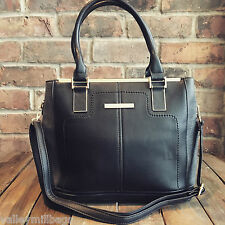 Womens Black Medium Moda Tote Handbag Faux Leather with Free River Island Gift