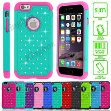 Hybrid Rugged Rubber Bling Crystal Hard Case For iPhone 4S 5 5S SE 5C 6 6S Plus