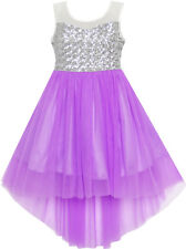Flower Girl Dress Sequin Mesh Party Wedding Princess Tulle Purple Size 7-14