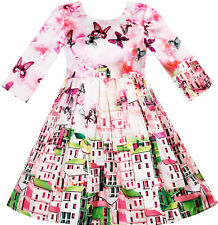 Flower Girl Dress Satin Silk Butterfly City Building View Pink Size 4-10 Pageant